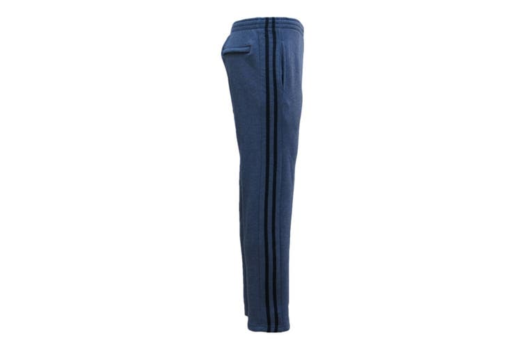 New Men's Fleece Lined Casual Sports Track Suit Striped Sweat Pants Gym Trackies - Dark Grey (Size: S)
