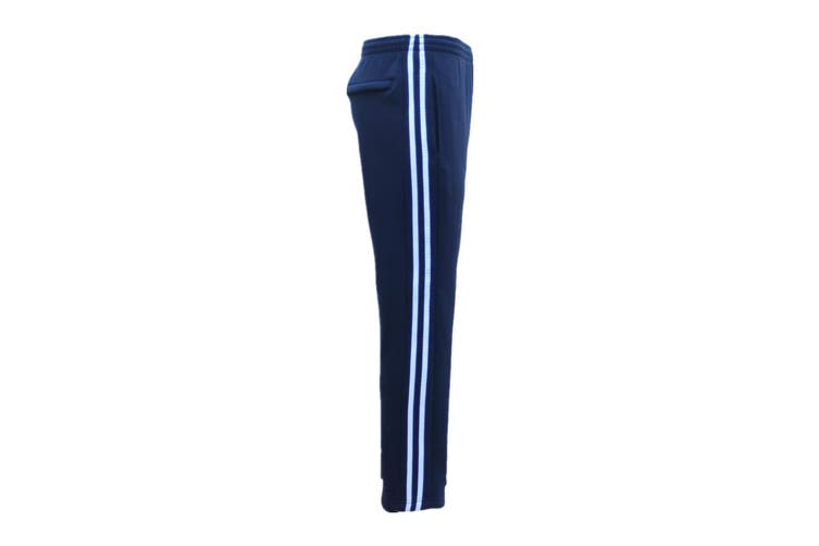 New Men's Fleece Lined Casual Sports Track Suit Striped Sweat Pants Gym Trackies - Navy (Size: S)