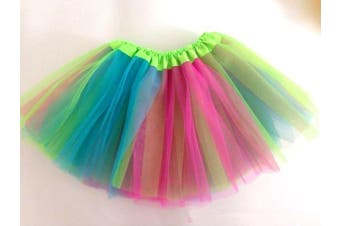 New Kids Tutu Skirt Baby Princess Dressup Party Girls Costume Ballet Dance Wear - Rainbow (Size: Kids)