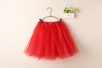 New Kids Tutu Skirt Baby Princess Dressup Party Girls Costume Ballet Dance Wear - Red (Size: Kids)