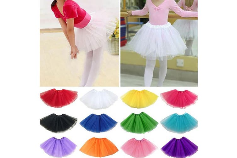 New Kids Tutu Skirt Baby Princess Dressup Party Girls Costume Ballet Dance Wear - Watermelon Red (Size: Kids)
