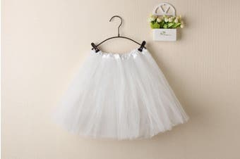New Kids Tutu Skirt Baby Princess Dressup Party Girls Costume Ballet Dance Wear - White (Size: Kids)