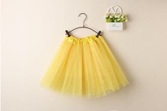 New Kids Tutu Skirt Baby Princess Dressup Party Girls Costume Ballet Dance Wear - Yellow (Size: Kids)