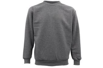 New Adult Unisex Plain Pullover Fleece Jumper Mens Long Sleeve Crew Neck Sweater - Grey