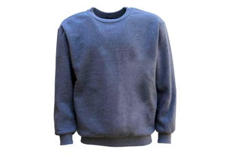 New Adult Unisex Plain Pullover Fleece Jumper Mens Long Sleeve Crew Neck Sweater - Grey - Grey