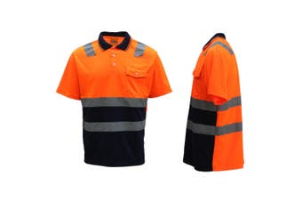 HI VIS Short Sleeve Workwear Shirt w Reflective Tape Cool Dry Safety Polo 2 Tone - Fluoro Orange / Navy - Fluoro Orange / Navy