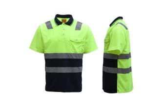 HI VIS Short Sleeve Workwear Shirt w Reflective Tape Cool Dry Safety Polo 2 Tone - Fluoro Yellow / Navy - Fluoro Yellow / Navy