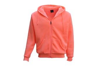 Adult Unisex Plain Fleece Hoodie Hooded Jacket Men's Zip Up Sweatshirt Jumper - Peach (Size:3XL) - Peach