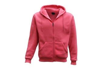 Adult Unisex Plain Fleece Hoodie Hooded Jacket Men's Zip Up Sweatshirt Jumper - Hot Pink - Hot Pink
