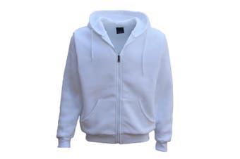 Adult Unisex Plain Fleece Hoodie Hooded Jacket Men's Zip Up Sweatshirt Jumper - White - White