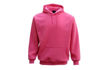 Adult Unisex Men's Plain Basic Pullover Hoodie Sweater Sweatshirt Jumper XS-5XL - Hot Pink - Hot Pink