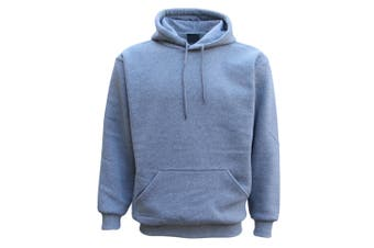Adult Unisex Men's Plain Basic Pullover Hoodie Sweater Sweatshirt Jumper XS-5XL - Light Grey - Light Grey