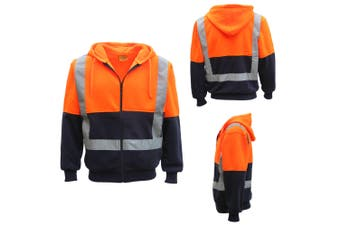 HI VIS Reflective Tape Fleece-lined Jacket FullZip Safety Hoodie Workwear Jumper - Fluro Orange / Navy