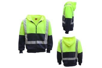 HI VIS Reflective Tape Fleece-lined Jacket FullZip Safety Hoodie Workwear Jumper - Fluro Yellow / Navy