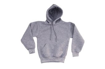 Kids Unisex Basic Pullover Hoodie Jumper School Uniform Plain Casual Sweat Shirt - Grey - Grey