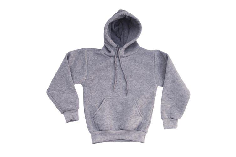 Kids Unisex Basic Pullover Hoodie Jumper School Uniform Plain Casual Sweat Shirt - Grey (Size:2)