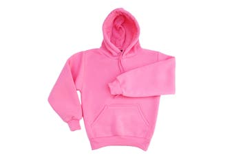 Kids Unisex Basic Pullover Hoodie Jumper School Uniform Plain Casual Sweat Shirt - Light Pink - Light Pink