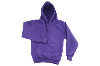 Kids Unisex Basic Pullover Hoodie Jumper School Uniform Plain Casual Sweat Shirt - Purple - Purple