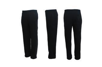New Adult Mens Unisex Track Suit Fleece Lined Pants Sport Gym Work Casual Winter - Black - Black