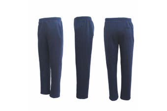 New Adult Mens Unisex Track Suit Fleece Lined Pants Sport Gym Work Casual Winter - Navy - Navy