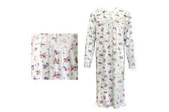 100% Cotton Women Nightie Night Gown Pajamas Pyjamas Winter Sleepwear PJs Dress - Red & Purple Flowers - Red & Purple Flowers
