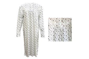 100% Cotton Women Nightie Night Gown Pajamas Pyjamas Winter Sleepwear PJs Dress - Purple Flowers - Purple Flowers