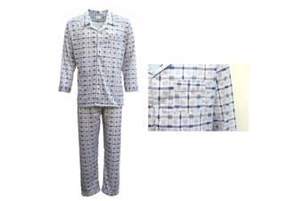New Mens Cotton Pajamas Pyjamas PJs Set Long Sleeve Shirt Tops + Pants Sleepwear - Blue - Blue