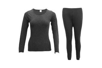 Mens Womens 2PCS SET Merino Wool Top Pants Thermal Leggings Long Johns Underwear - Women's Set - Black - Women's Set - Black