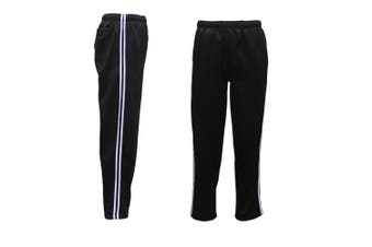 Mens Fleece Lined Track Sweat Pants Casual Tracksuit w Stripes Breathable Mesh - Black - Black