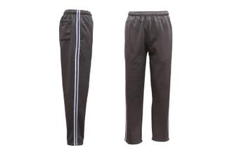 Mens Fleece Lined Track Sweat Pants Casual Tracksuit w Stripes Breathable Mesh - Charcoal - Charcoal