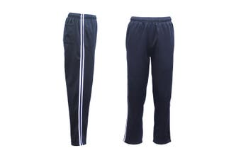 Mens Fleece Lined Track Sweat Pants Casual Tracksuit w Stripes Breathable Mesh - Navy - Navy