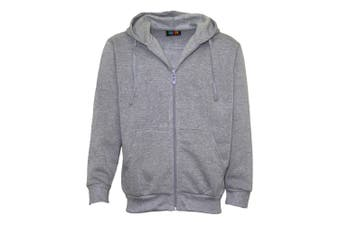New Men's Zip Up Fleece Lined Hoodie Hooded Basic Plain Jacket Sports Casual Gym - Grey - Grey