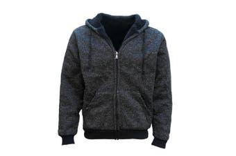 Men's Thick Zip Up Hooded Hoodie w Winter Sherpa Fur Jumper Coat Jacket Sweater - Black - Black