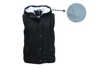 Women's Hooded Sherpa Fur Puffy Puffer Sleeveless Jacket Vest Waistcoat Quilted - Black - Black