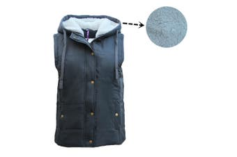 Women's Hooded Sherpa Fur Puffy Puffer Sleeveless Jacket Vest Waistcoat Quilted - Charcoal - Charcoal