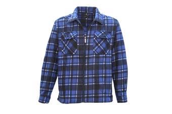 New Mens Long Sleeve Flannelette Shirt Premium Check Flannel Polar Fleece Jacket - Blue - Blue