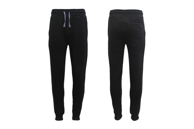 New Men's Unisex Fleece Lined Sweat Track Pants Casual Trackies Suit Slim Cuffed - Black (Size:S)
