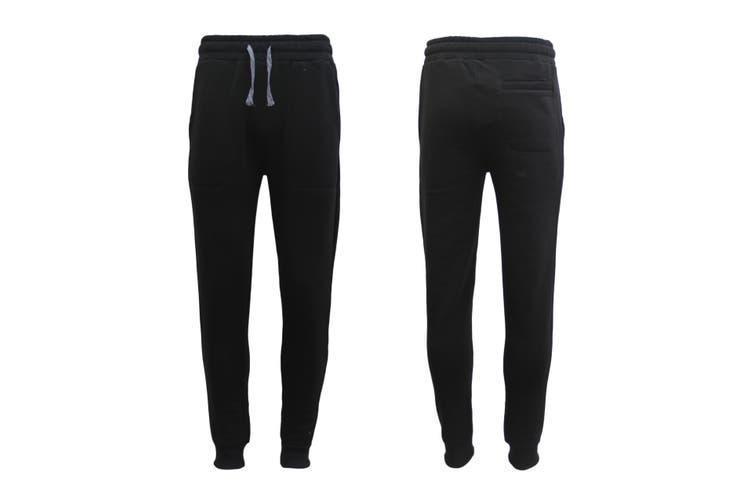New Men's Unisex Fleece Lined Sweat Track Pants Casual Trackies Suit Slim Cuffed - Black (Size:L)