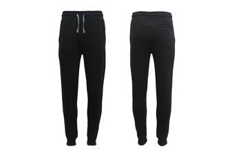 New Men's Unisex Fleece Lined Sweat Track Pants Casual Trackies Suit Slim Cuffed - Black - Black