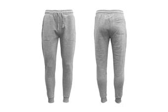 New Men's Unisex Fleece Lined Sweat Track Pants Casual Trackies Suit Slim Cuffed - Light Grey (Size:M)