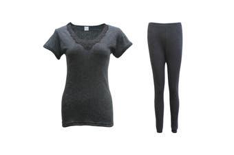 New Women's 2PCS SET Merino Wool Short Sleeve Top Shirt Thermal Leggings Pajamas - Black - Black