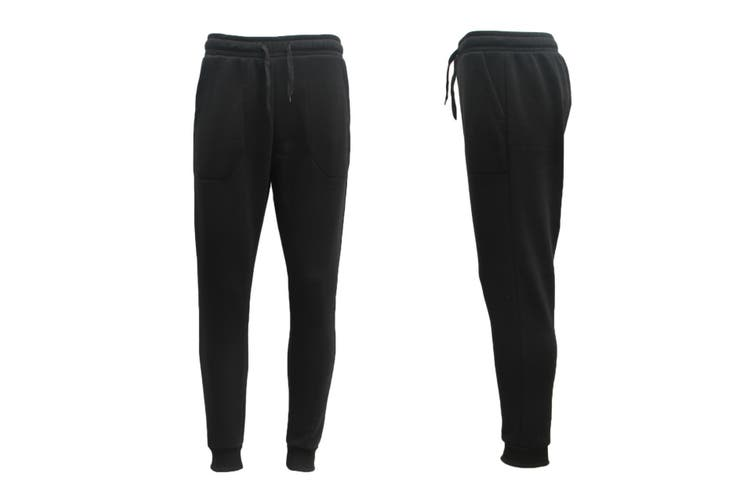 Mens Unisex Fleece Lined Sweat Track Pants Suit Casual Trackies Slim Cuff XS-4XL - Black (Size:2XL)