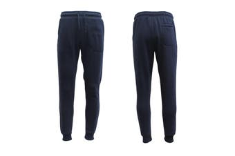 Mens Unisex Fleece Lined Sweat Track Pants Suit Casual Trackies Slim Cuff XS-4XL - Navy (Size:XS)