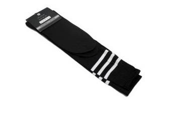 Mens Womens Sports Breathable Tube Long High Socks Knee Warm Casual Footy Soccer - Black