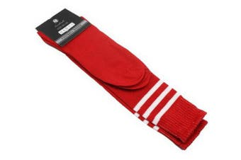 Mens Womens Sports Breathable Tube Long High Socks Knee Warm Casual Footy Soccer - Red