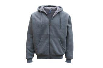 Mens Women's Thick Zip-Up Hoodie w Sherpa Fur Winter Unisex Hooded Jacket Jumper - Grey - Grey