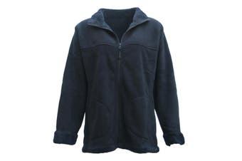 New Women's Thick Fanx Sherpa Fur Shirt Fleece Lined Jacket Jumper Sweater Warm - Black - Black