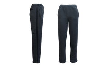 New Men's Fleece Lined Striped Casual Sport Track Suit Sweat Pants Gym Trackies - Dark Grey w Black Stripes - Dark Grey w Black Stripes