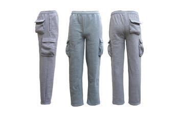 Men's Unisex Cargo Fleece Lined Casual Jogging Sports Gym Track Suit Sweat Pants - Light Grey - Light Grey