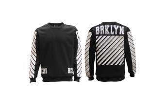 New Unisex Pullover Fleece Lined Jumper Mens Long Sleeve Crew Neck Sweater White - Black